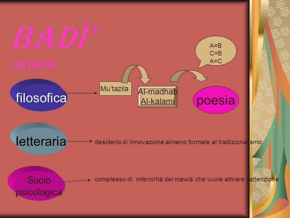 Badì' origini filosofica poesia letteraria Socio psicologica Al-madhab