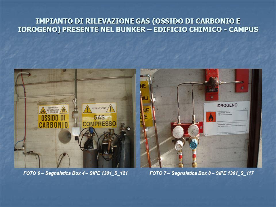 IMPIANTO DI RILEVAZIONE GAS (OSSIDO DI CARBONIO E IDROGENO) PRESENTE NEL BUNKER – EDIFICIO CHIMICO - CAMPUS