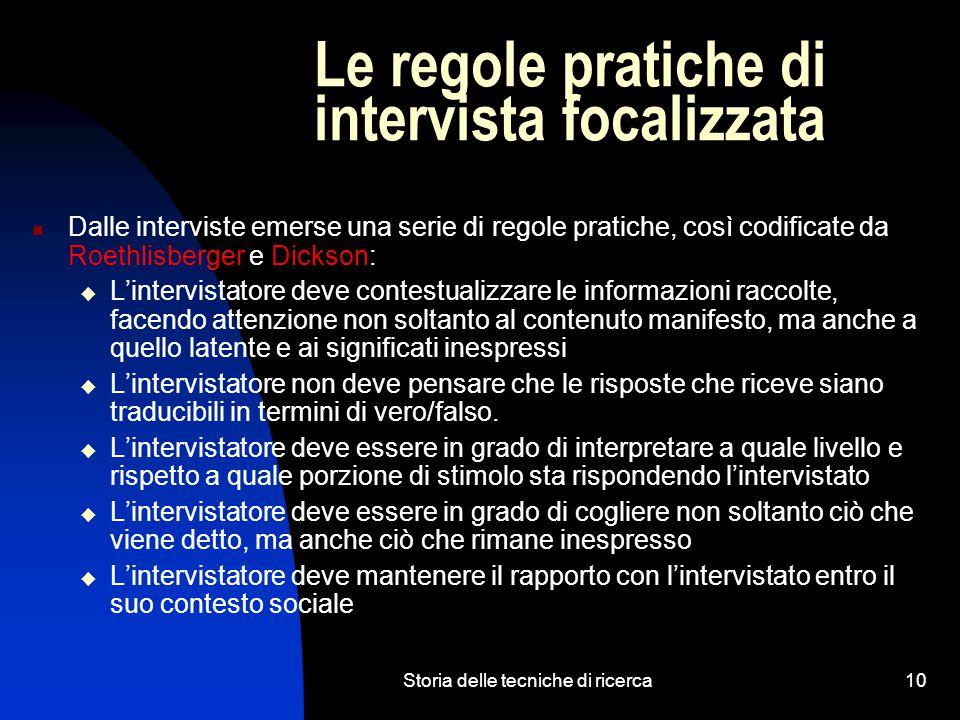 Le regole pratiche di intervista focalizzata