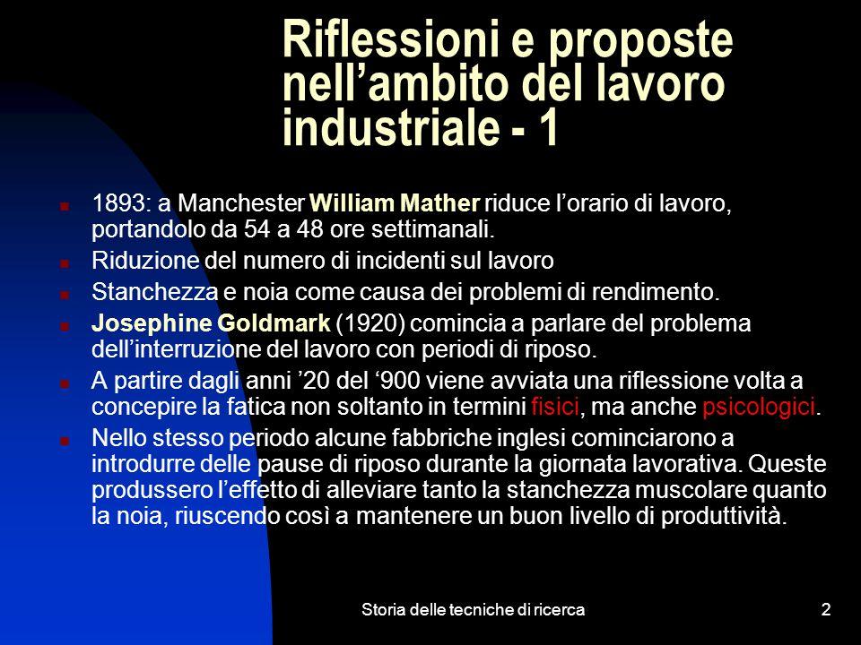 Riflessioni e proposte nell'ambito del lavoro industriale - 1