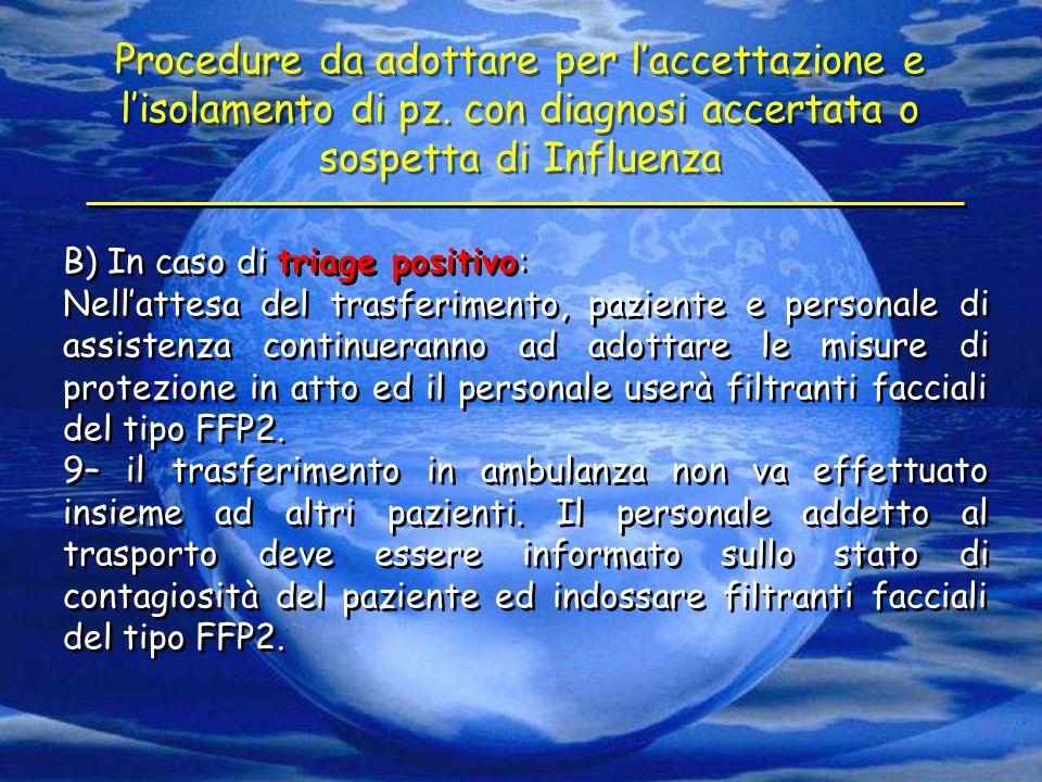 Procedure da adottare per l'accettazione e l'isolamento di pz