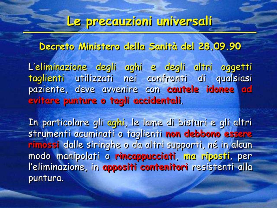 Le precauzioni universali Decreto Ministero della Sanità del 28.09.90