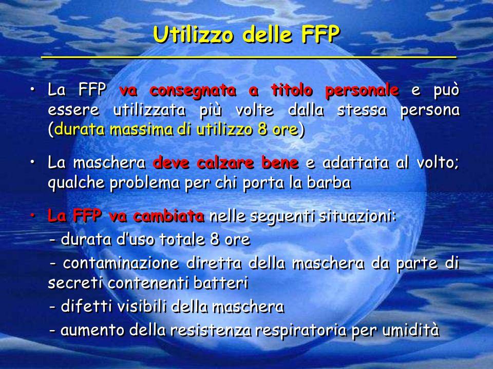 Utilizzo delle FFP La FFP va consegnata a titolo personale e può essere utilizzata più volte dalla stessa persona (durata massima di utilizzo 8 ore)