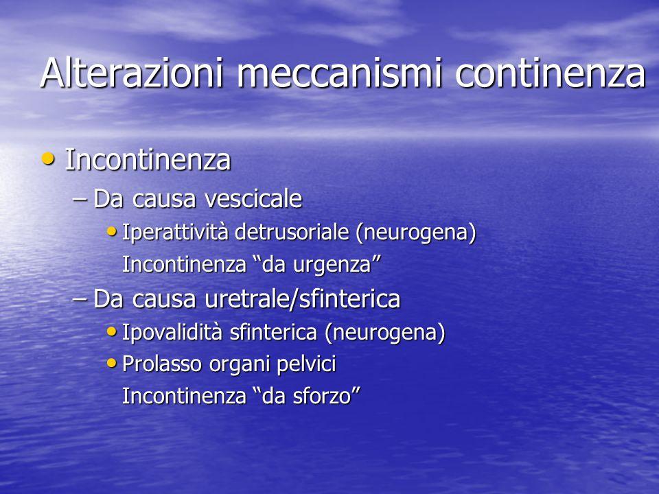 Alterazioni meccanismi continenza