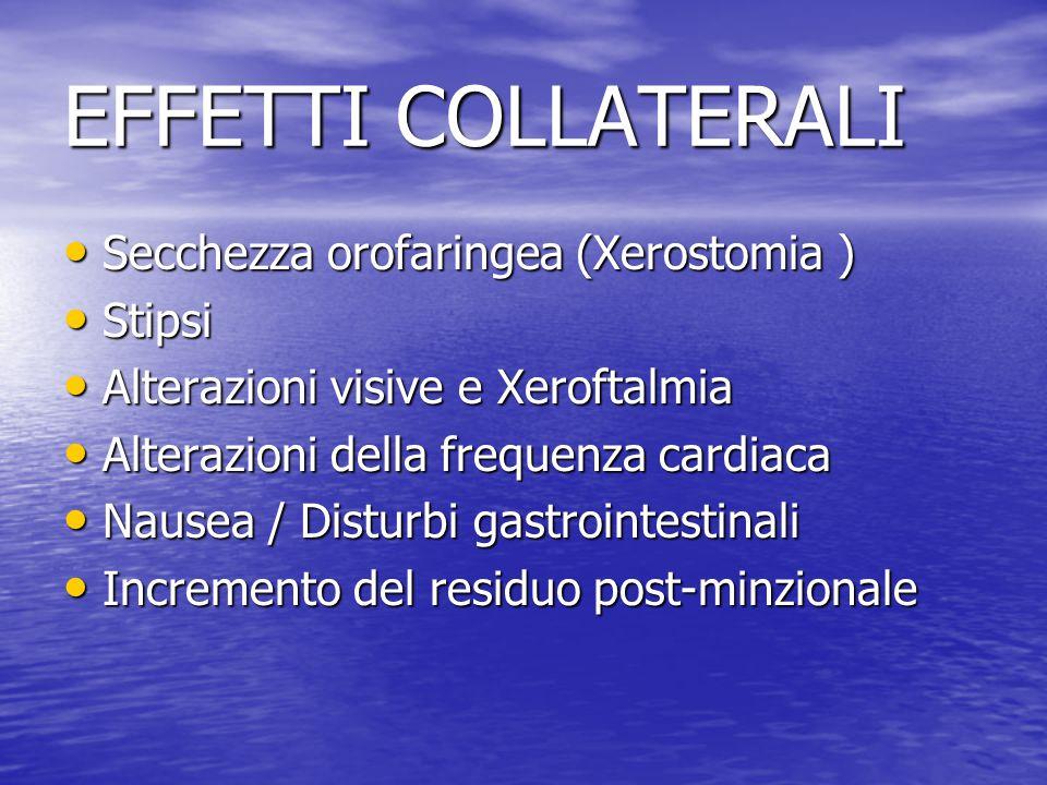 EFFETTI COLLATERALI Secchezza orofaringea (Xerostomia ) Stipsi