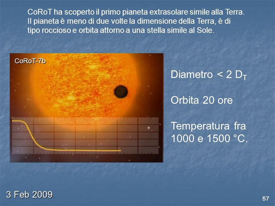 Diametro < 2 DT Orbita 20 ore Temperatura fra 1000 e 1500 °C.