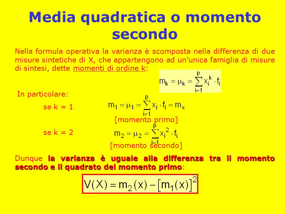 Media quadratica o momento secondo