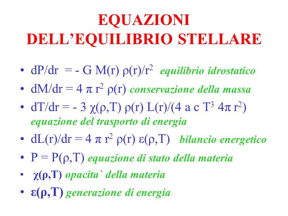 EQUAZIONI DELL'EQUILIBRIO STELLARE