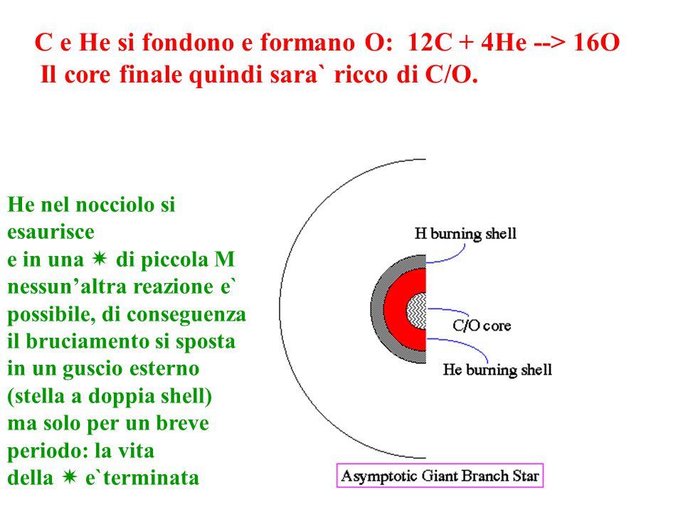 Il core finale quindi sara` ricco di C/O.