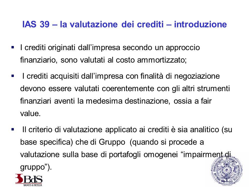IAS 39 – la valutazione dei crediti – introduzione