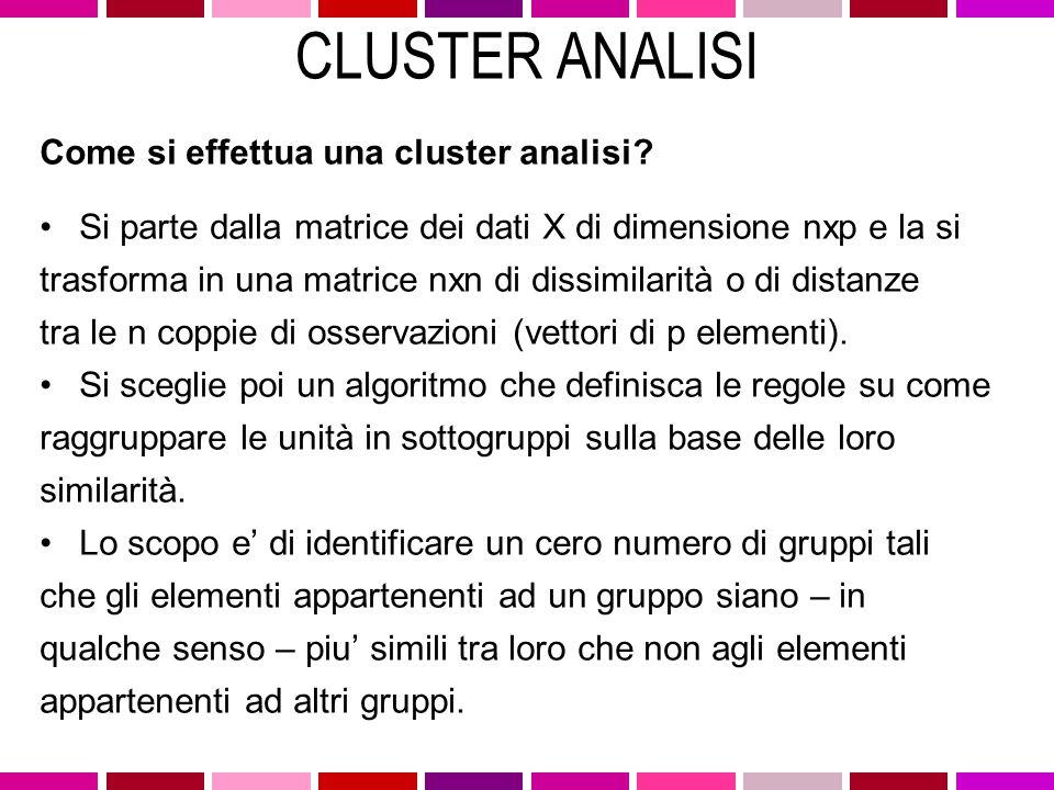 CLUSTER ANALISI Come si effettua una cluster analisi
