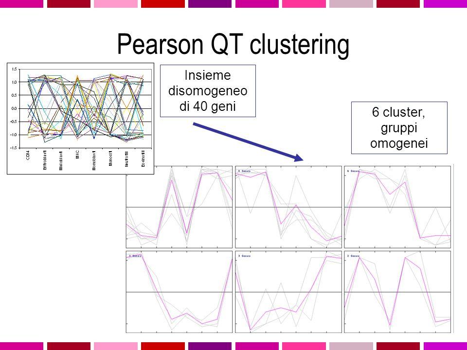 Pearson QT clustering Insieme disomogeneo di 40 geni