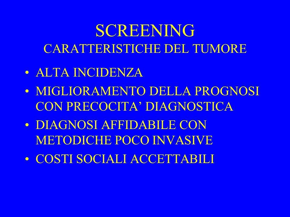 SCREENING CARATTERISTICHE DEL TUMORE