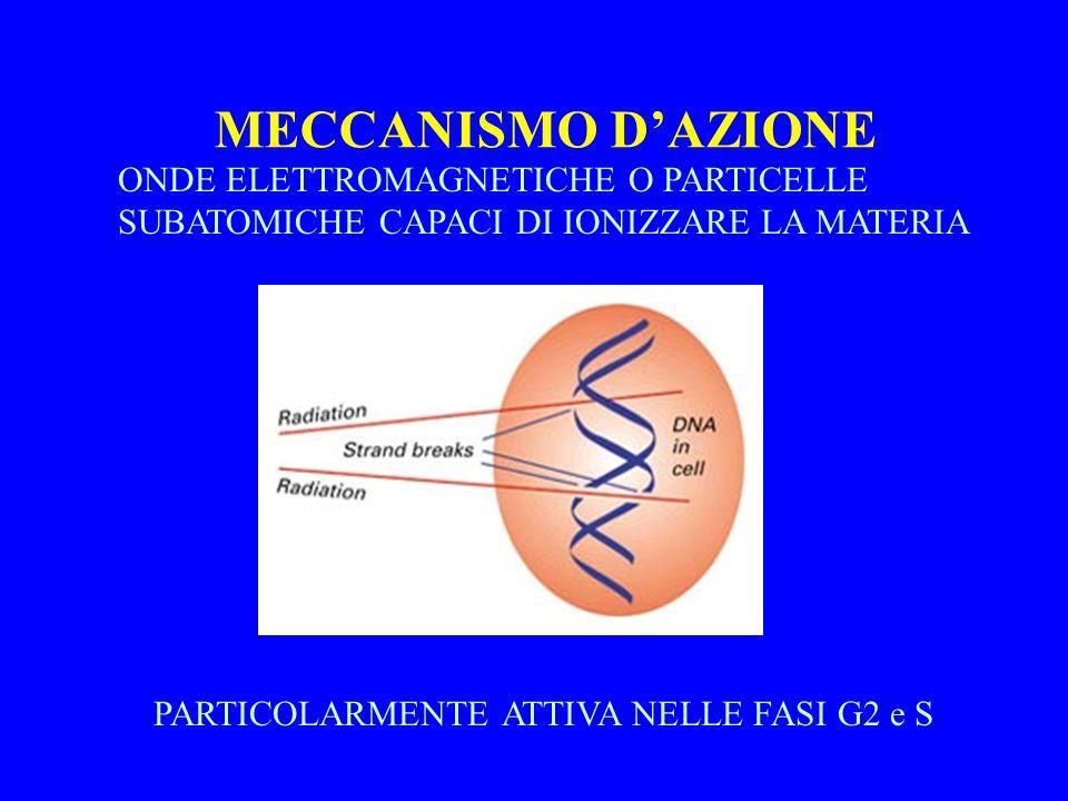 MECCANISMO D'AZIONE ONDE ELETTROMAGNETICHE O PARTICELLE SUBATOMICHE CAPACI DI IONIZZARE LA MATERIA.