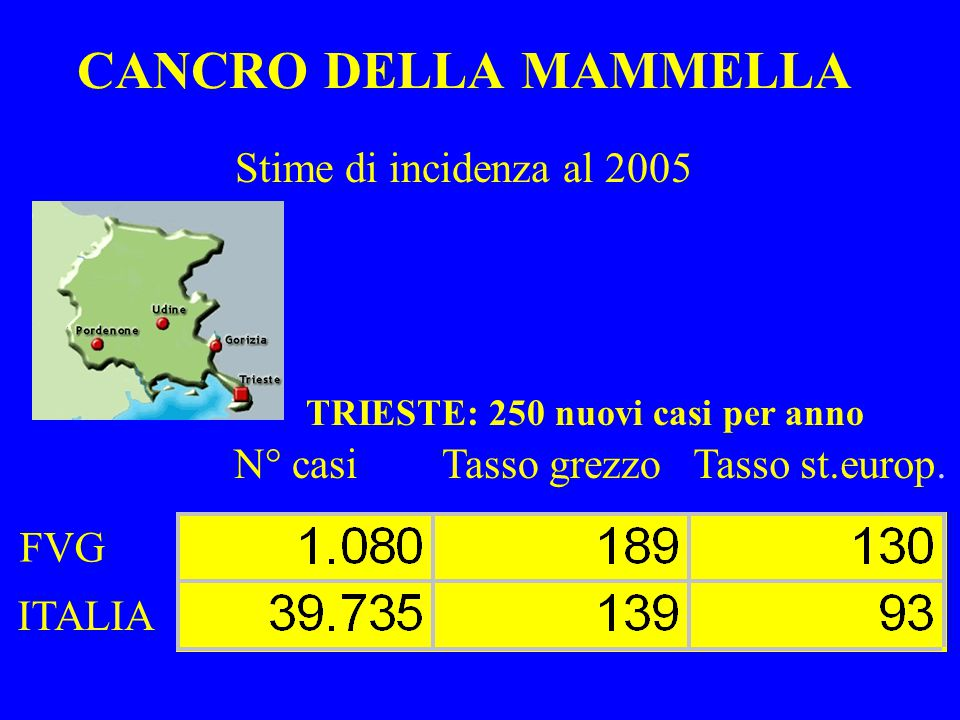 CANCRO DELLA MAMMELLA Stime di incidenza al 2005 N° casi Tasso grezzo