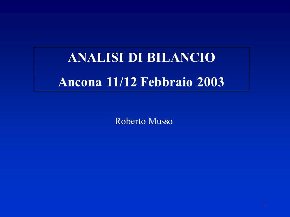ANALISI DI BILANCIO Ancona 11/12 Febbraio 2003
