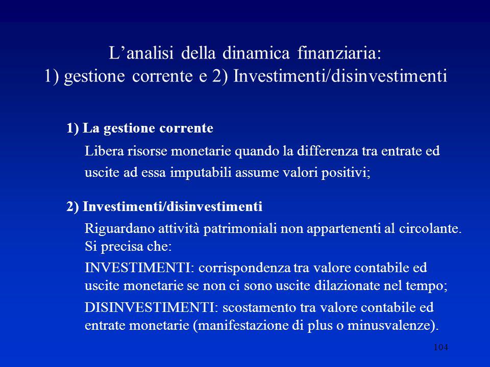 L'analisi della dinamica finanziaria: 1) gestione corrente e 2) Investimenti/disinvestimenti