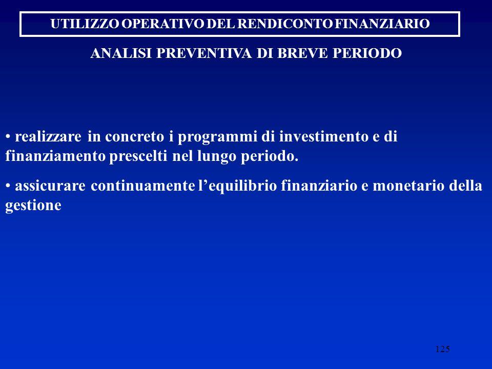 UTILIZZO OPERATIVO DEL RENDICONTO FINANZIARIO