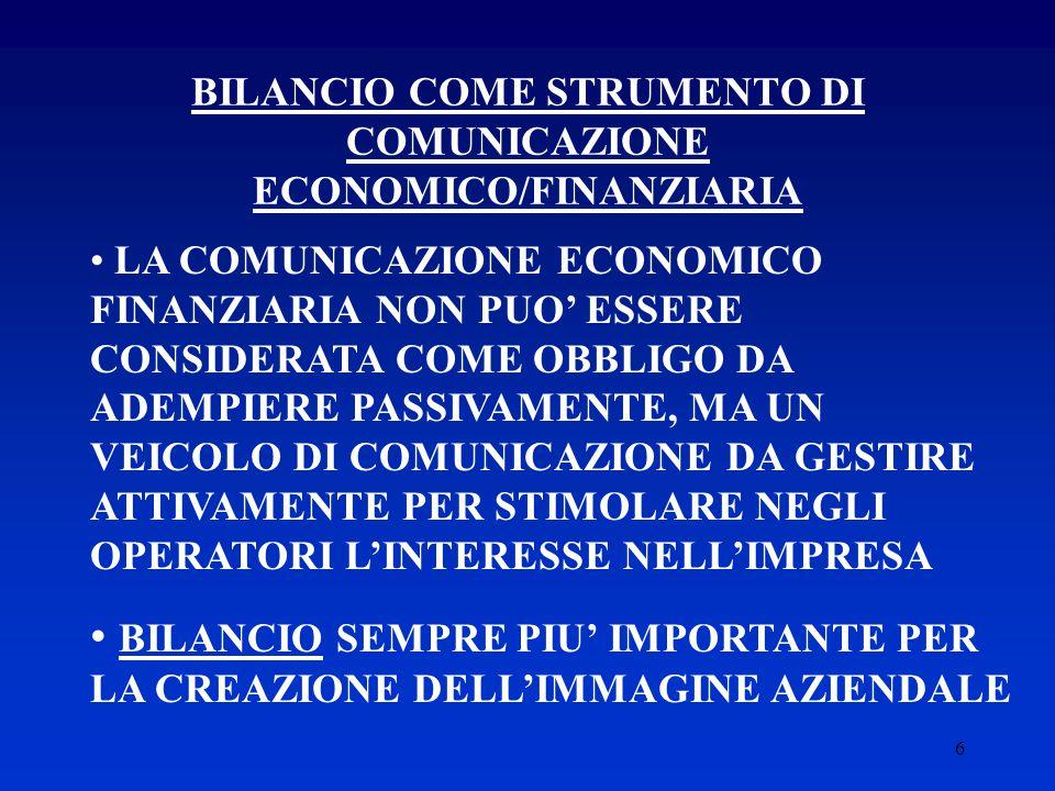 BILANCIO COME STRUMENTO DI COMUNICAZIONE ECONOMICO/FINANZIARIA
