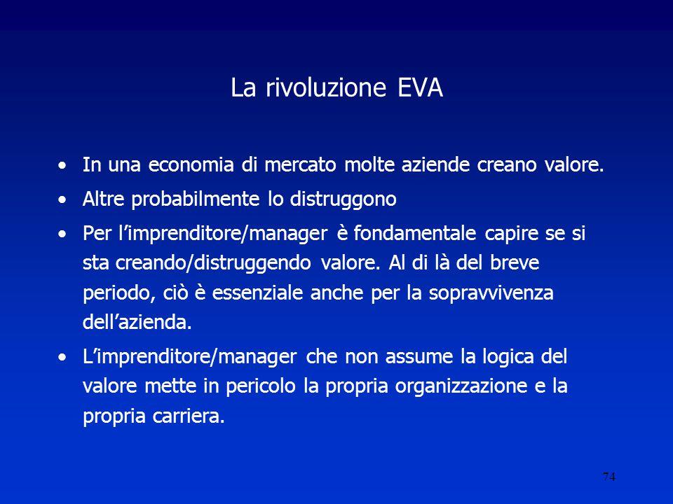 La rivoluzione EVA In una economia di mercato molte aziende creano valore. Altre probabilmente lo distruggono.