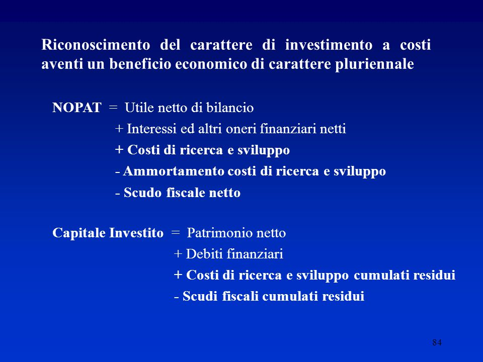 Riconoscimento del carattere di investimento a costi aventi un beneficio economico di carattere pluriennale