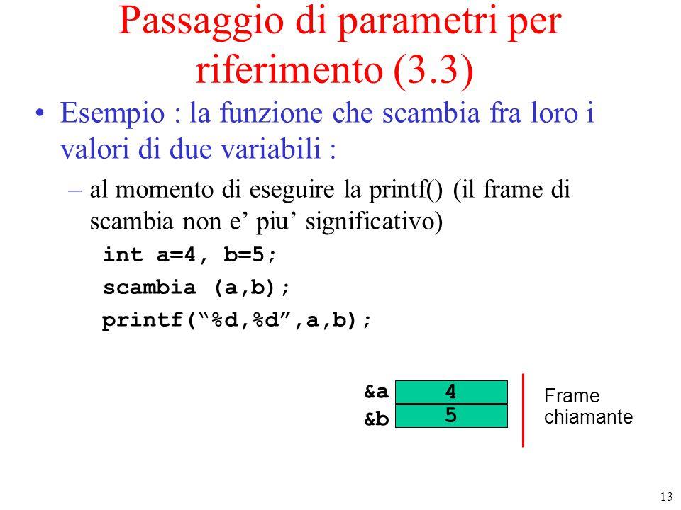 Passaggio di parametri per riferimento (3.3)