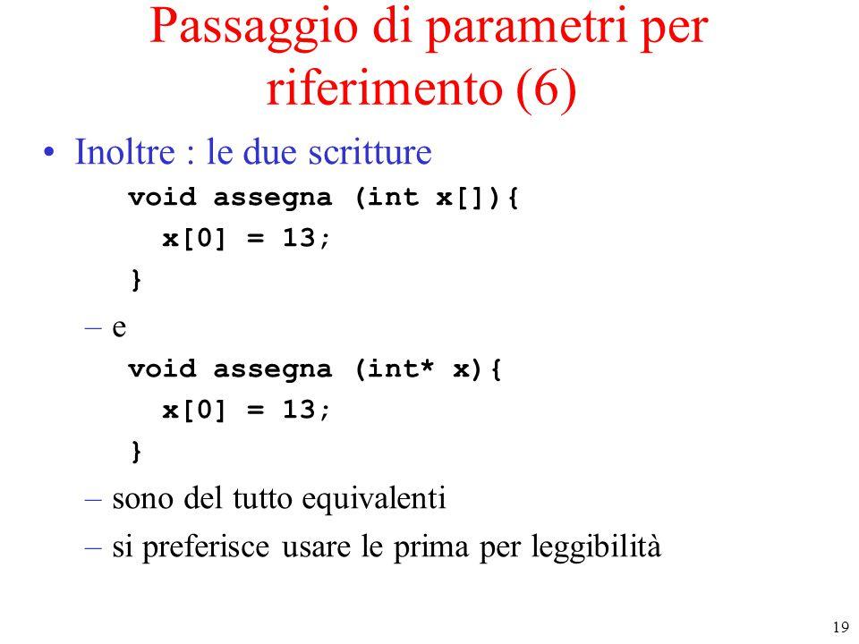Passaggio di parametri per riferimento (6)