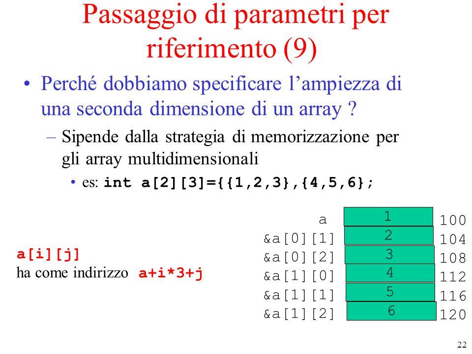 Passaggio di parametri per riferimento (9)