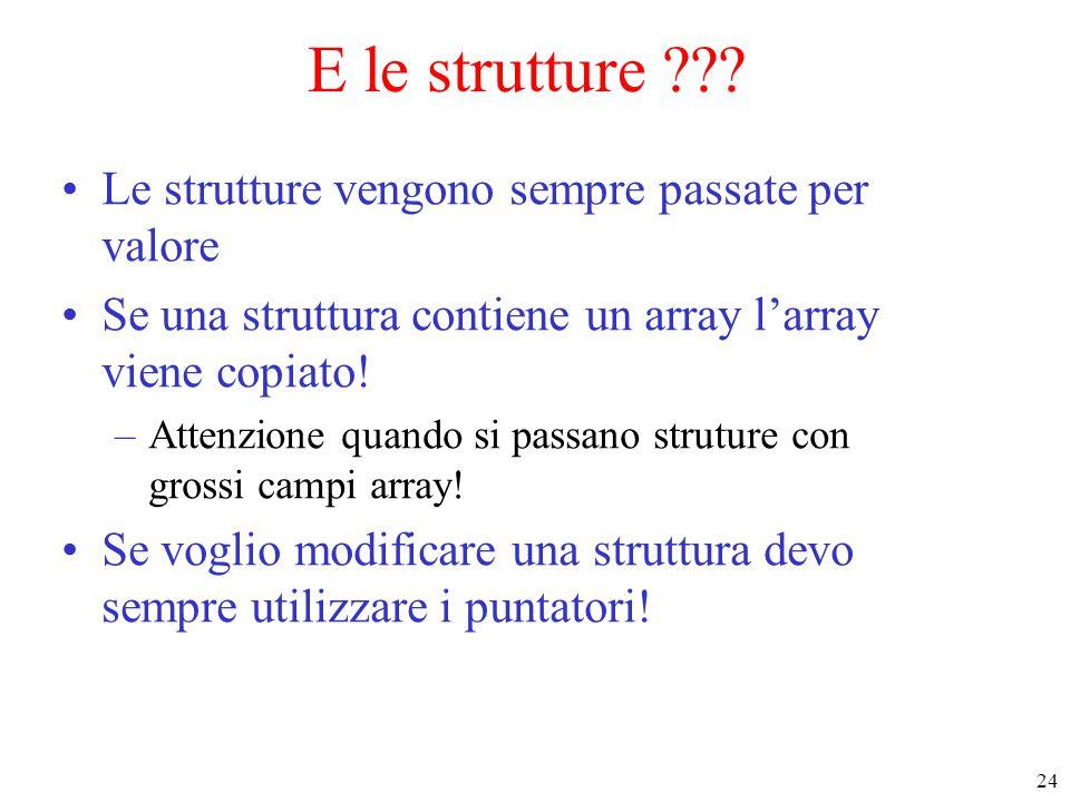 E le strutture Le strutture vengono sempre passate per valore