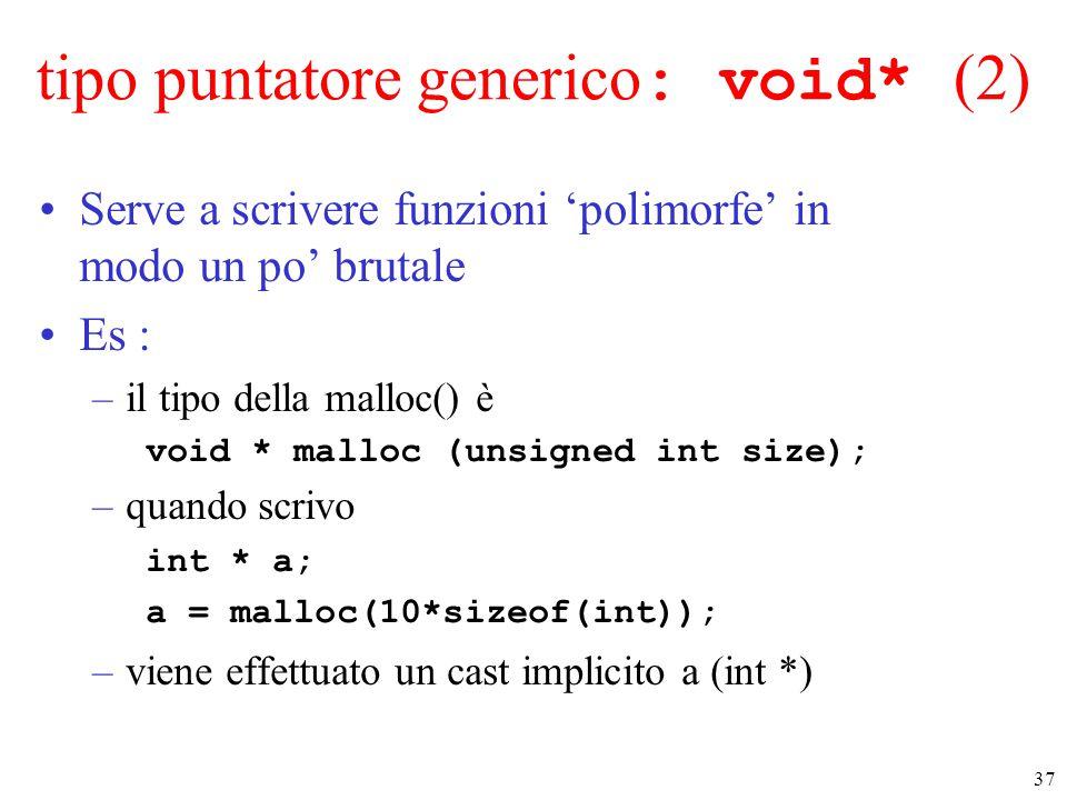 tipo puntatore generico: void* (2)