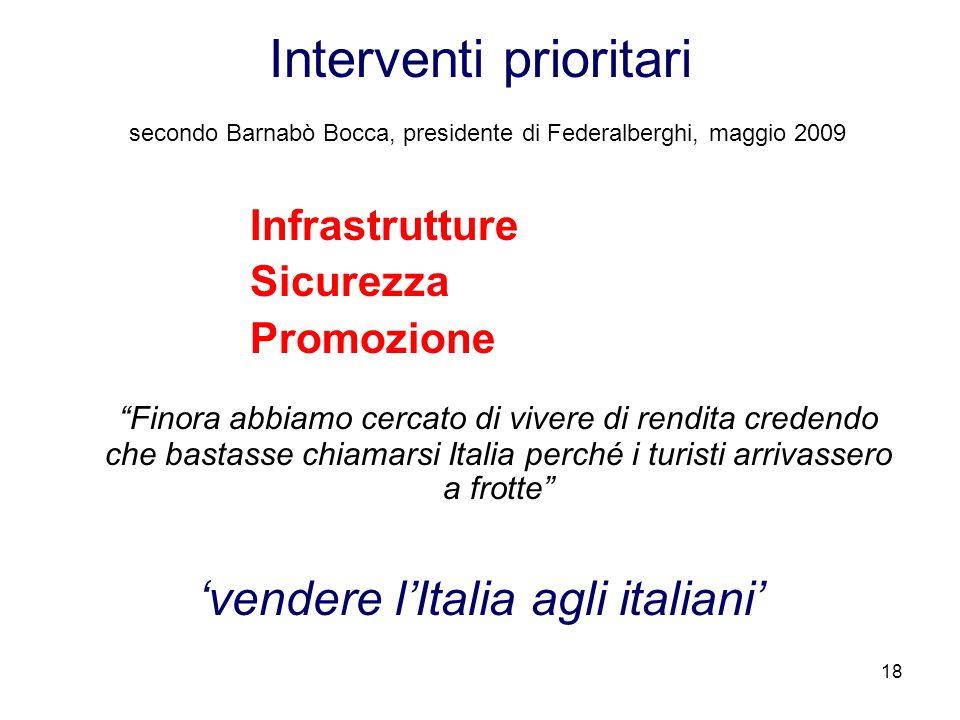 'vendere l'Italia agli italiani'