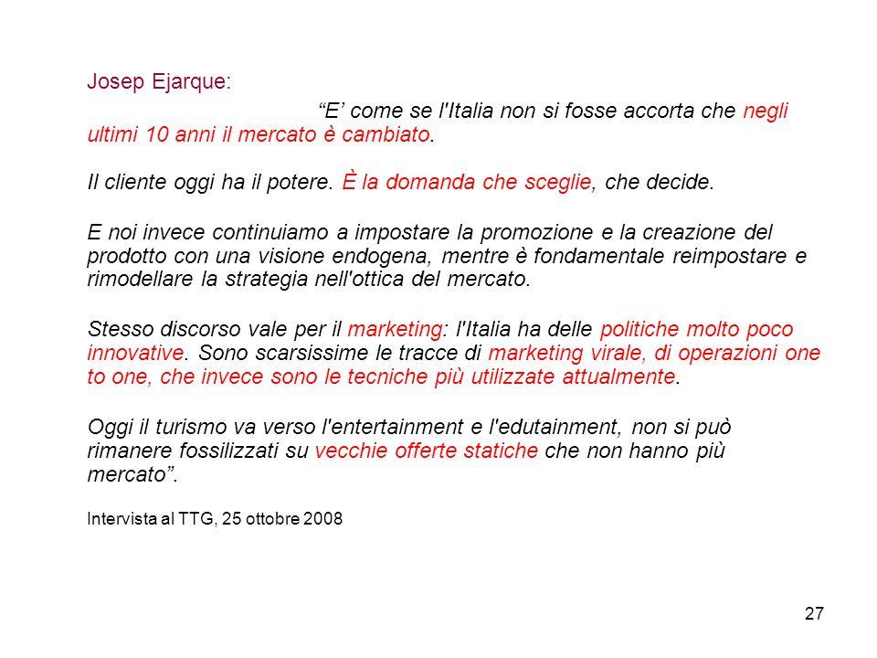 Josep Ejarque: E' come se l Italia non si fosse accorta che negli ultimi 10 anni il mercato è cambiato.