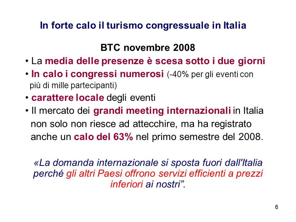 In forte calo il turismo congressuale in Italia