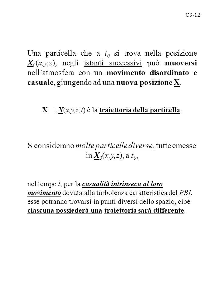 X  X(x,y,z;t) è la traiettoria della particella.