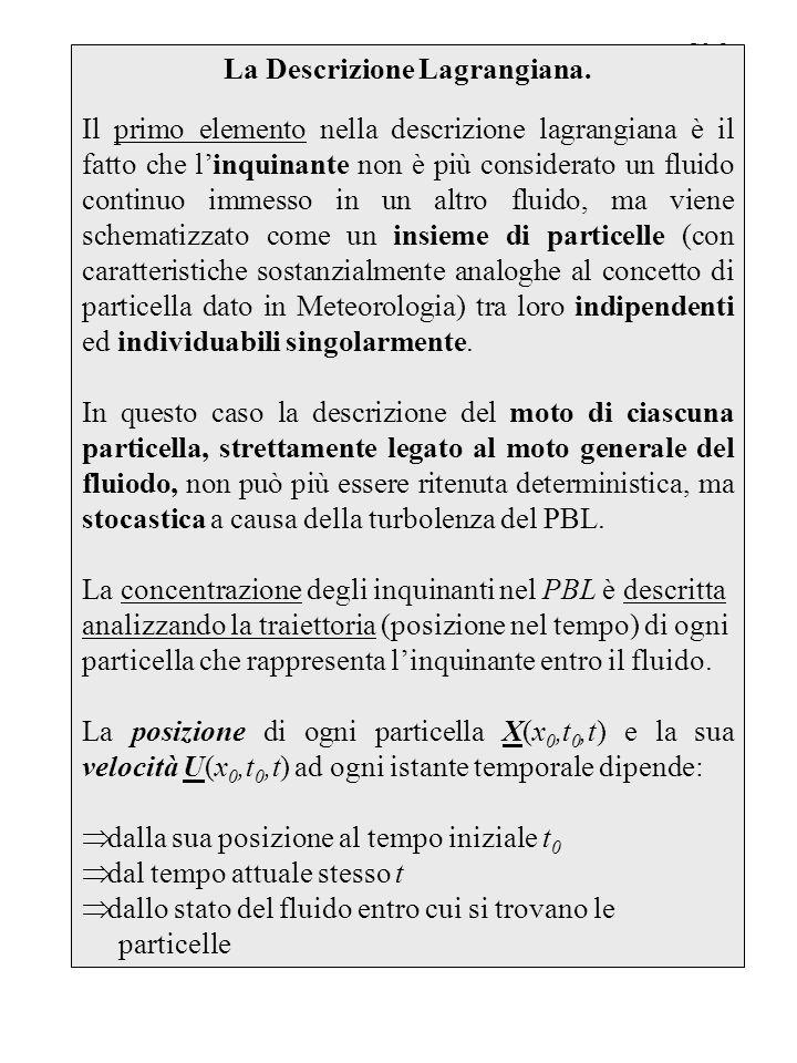 La Descrizione Lagrangiana.