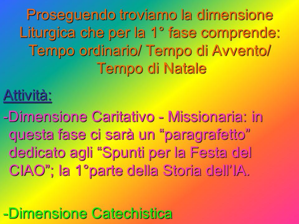 Proseguendo troviamo la dimensione Liturgica che per la 1° fase comprende: Tempo ordinario/ Tempo di Avvento/ Tempo di Natale