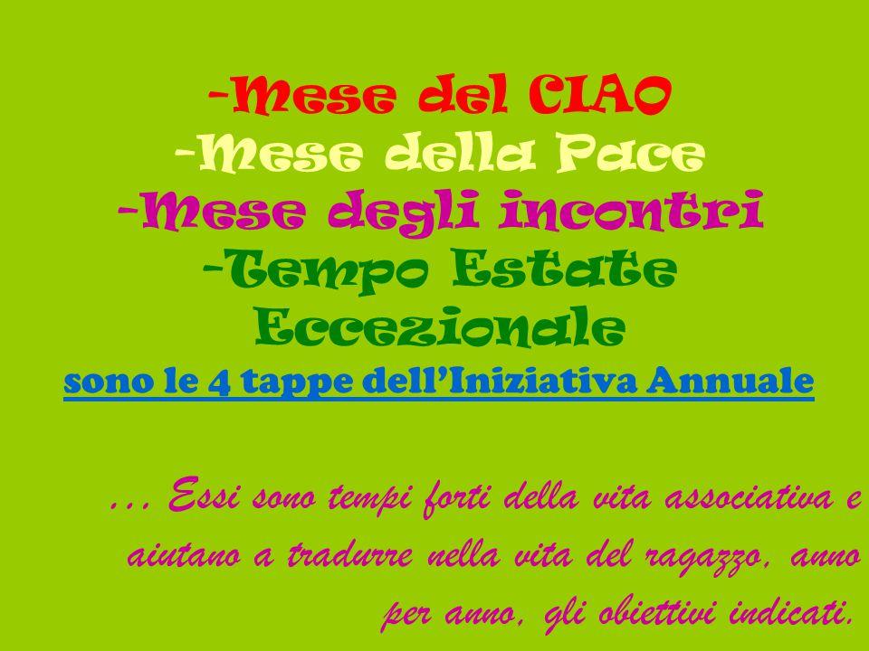 -Mese del CIAO -Mese della Pace -Mese degli incontri -Tempo Estate Eccezionale sono le 4 tappe dell'Iniziativa Annuale