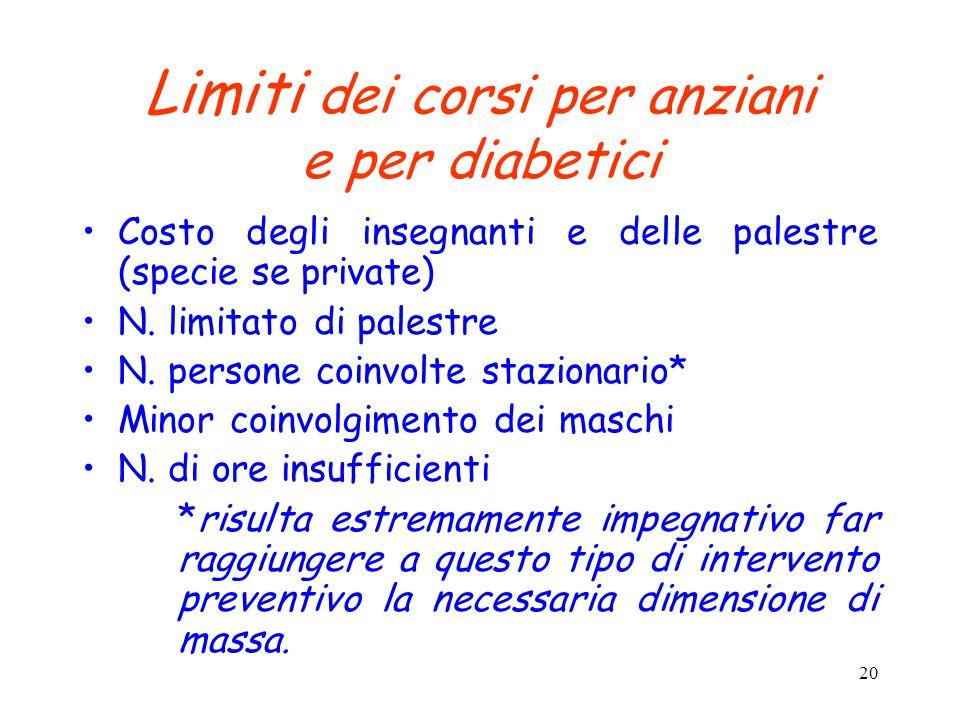 Limiti dei corsi per anziani e per diabetici