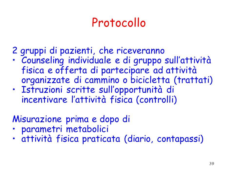 Protocollo 2 gruppi di pazienti, che riceveranno