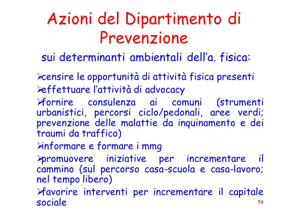 Azioni del Dipartimento di Prevenzione sui determinanti ambientali dell'a. fisica: