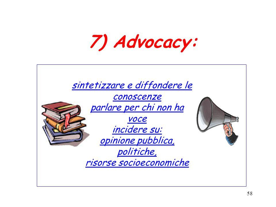 7) Advocacy: