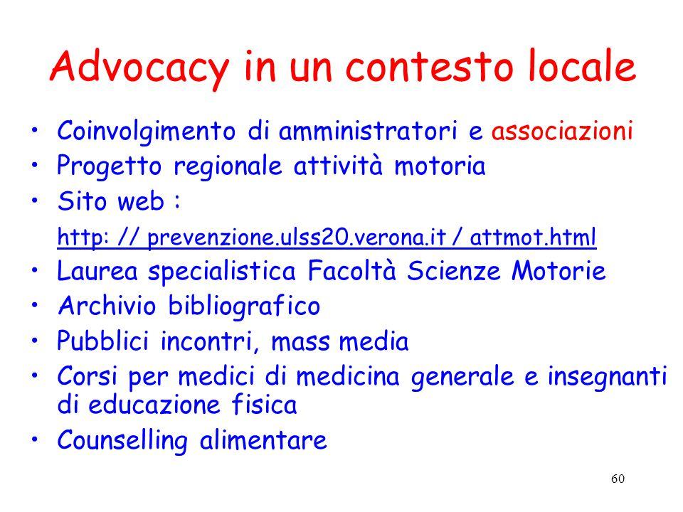 Advocacy in un contesto locale