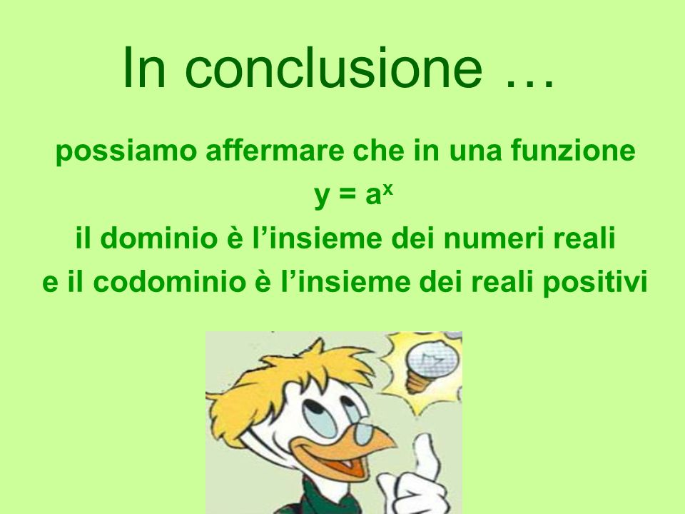 In conclusione … possiamo affermare che in una funzione y = ax