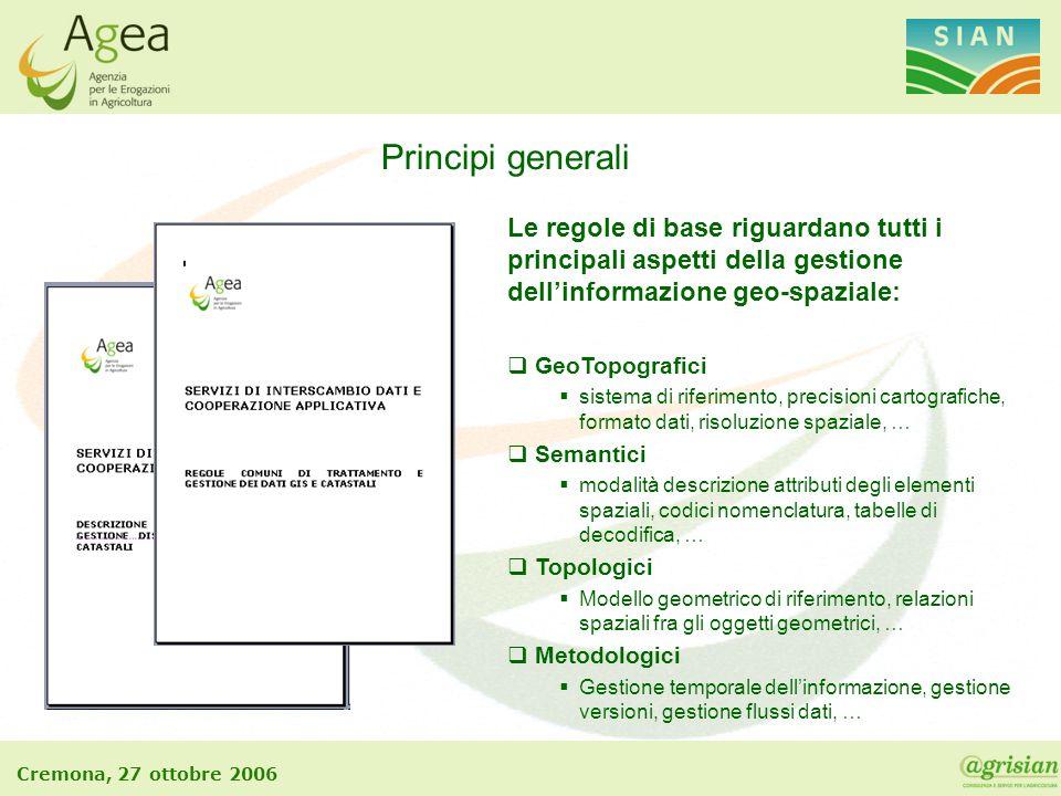 Principi generali Le regole di base riguardano tutti i principali aspetti della gestione dell'informazione geo-spaziale: