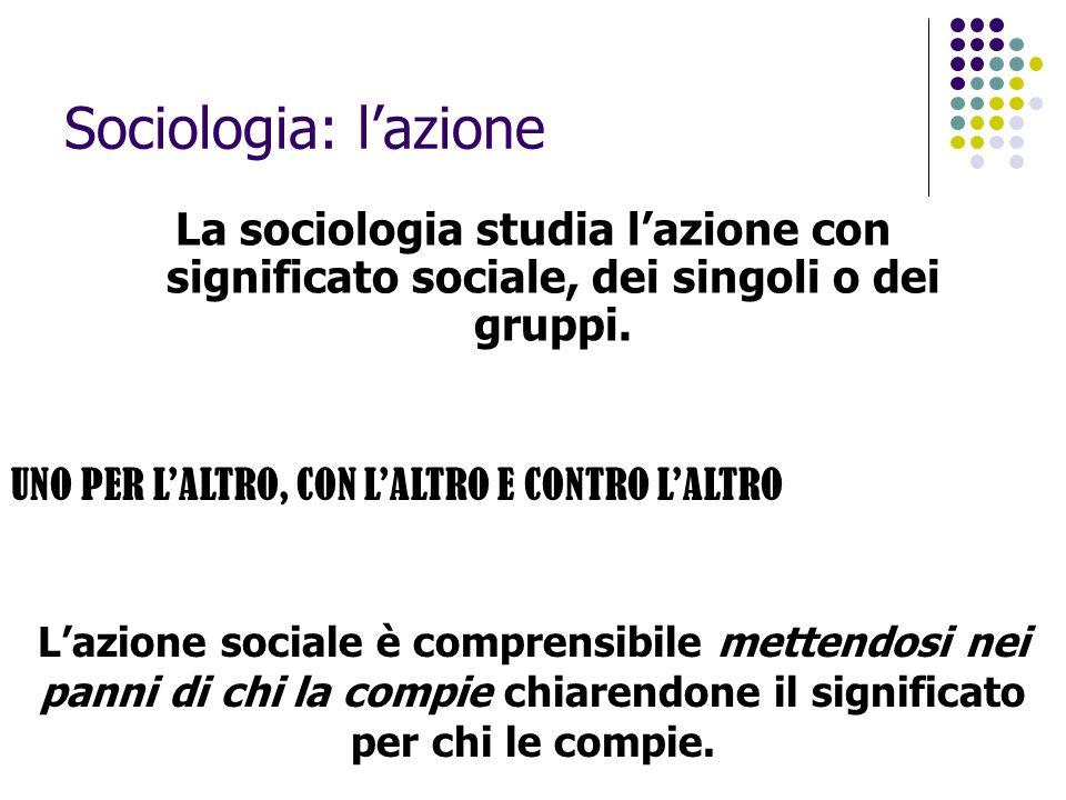 Sociologia: l'azione La sociologia studia l'azione con significato sociale, dei singoli o dei gruppi.