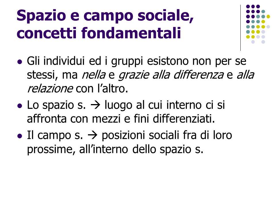 Spazio e campo sociale, concetti fondamentali