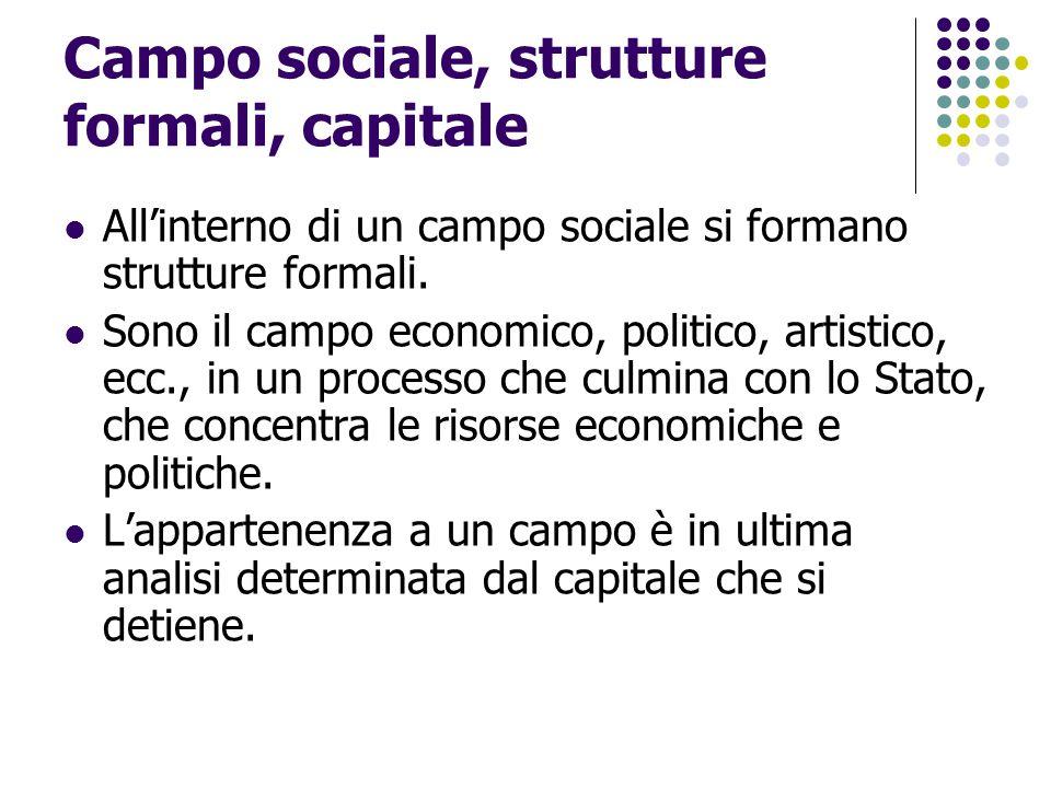 Campo sociale, strutture formali, capitale