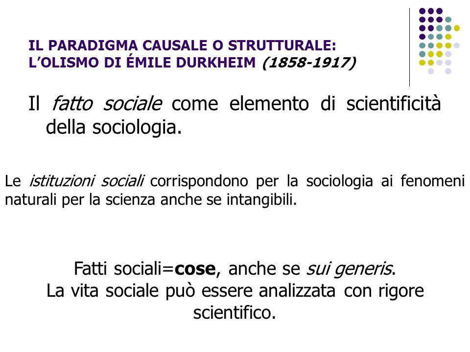 Il fatto sociale come elemento di scientificità della sociologia.