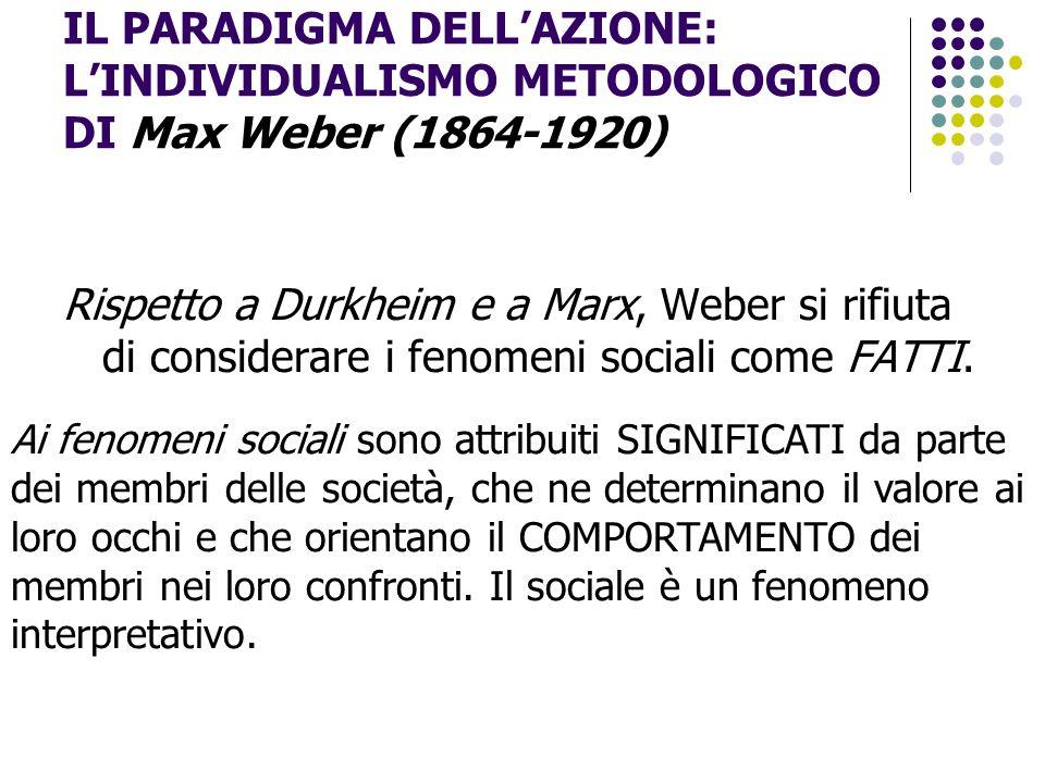 IL PARADIGMA DELL'AZIONE: L'INDIVIDUALISMO METODOLOGICO DI Max Weber (1864-1920)