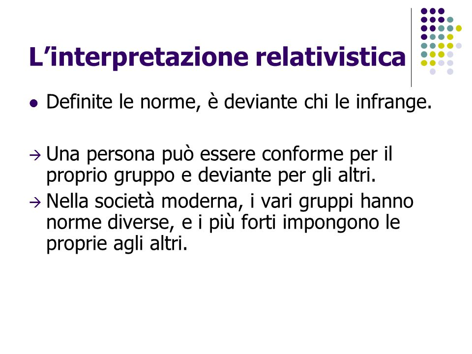 L'interpretazione relativistica